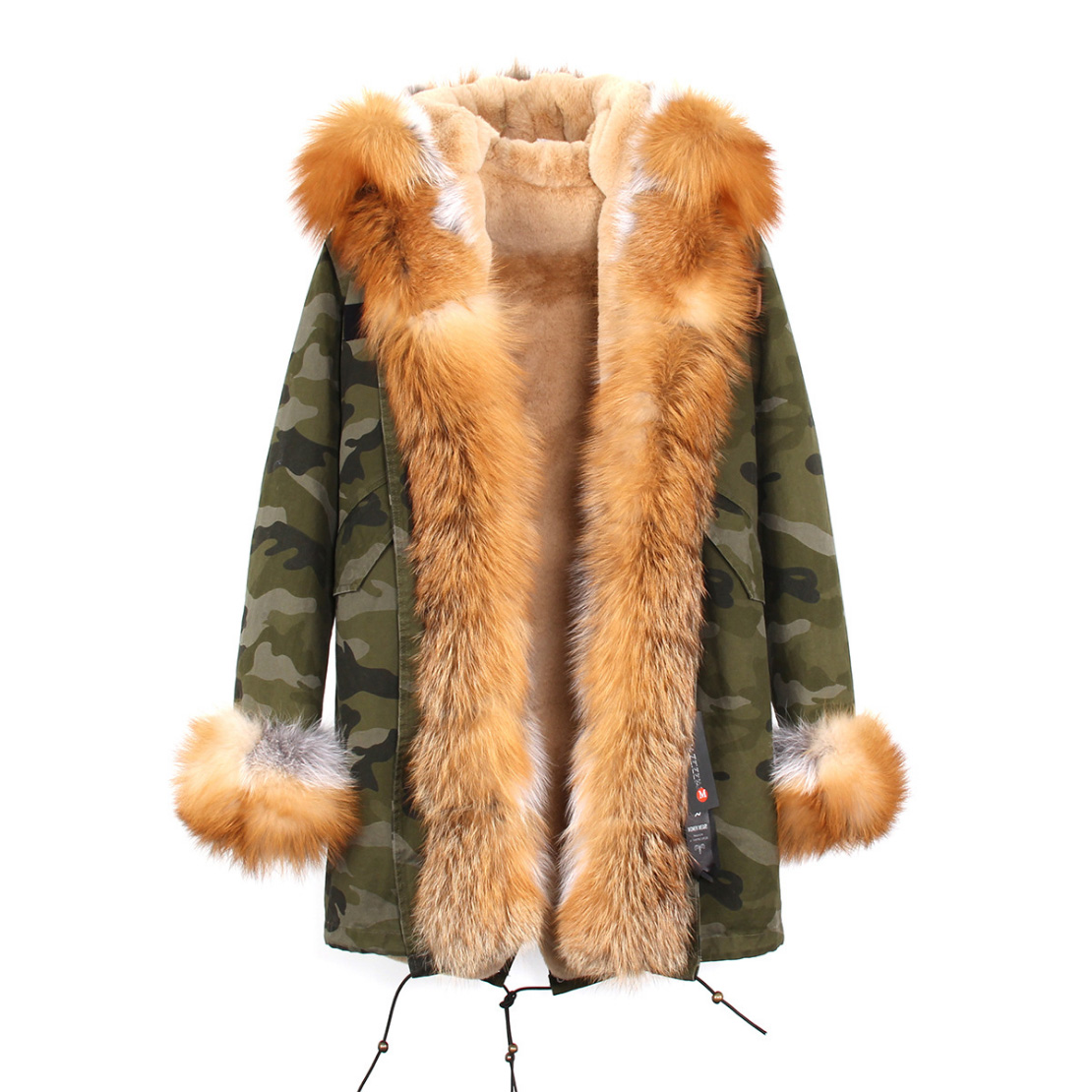 Fox Fur Trimmed Hooded Parka with Detachable Liner 133-2