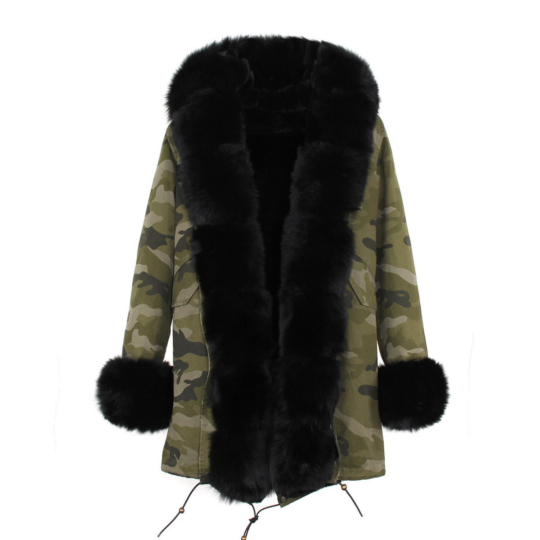 Fox Fur Trimmed Hooded Parka with Detachable Liner 133-3