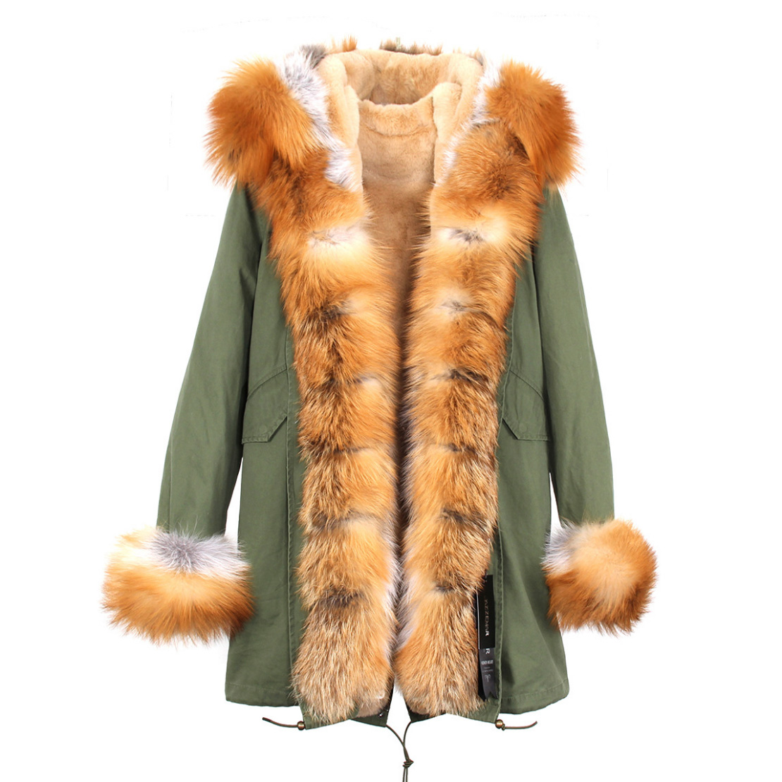 Fox Fur Trimmed Hooded Parka with Detachable Liner 133-6