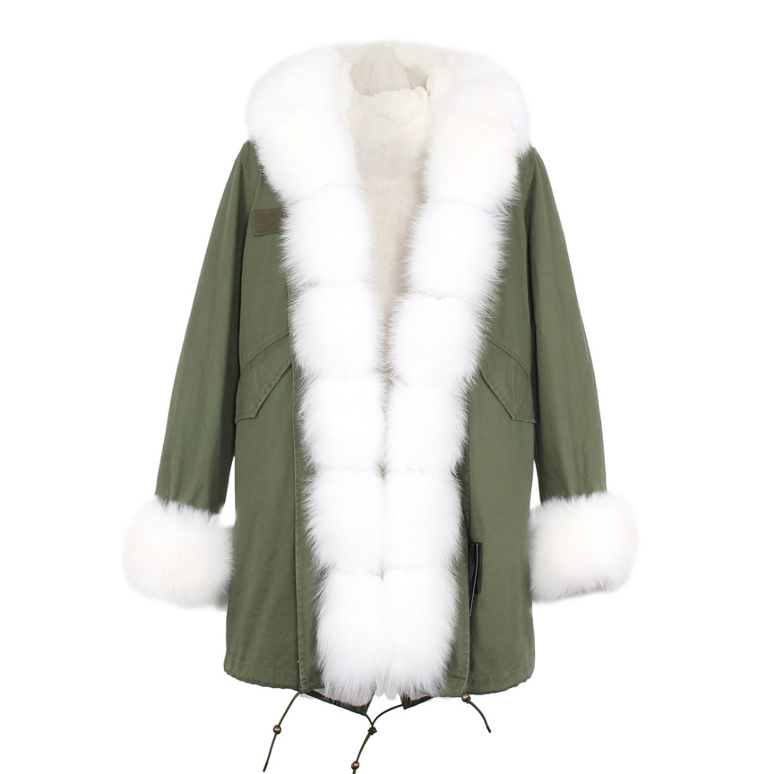 Fox Fur Trimmed Hooded Parka with Detachable Liner 133-7