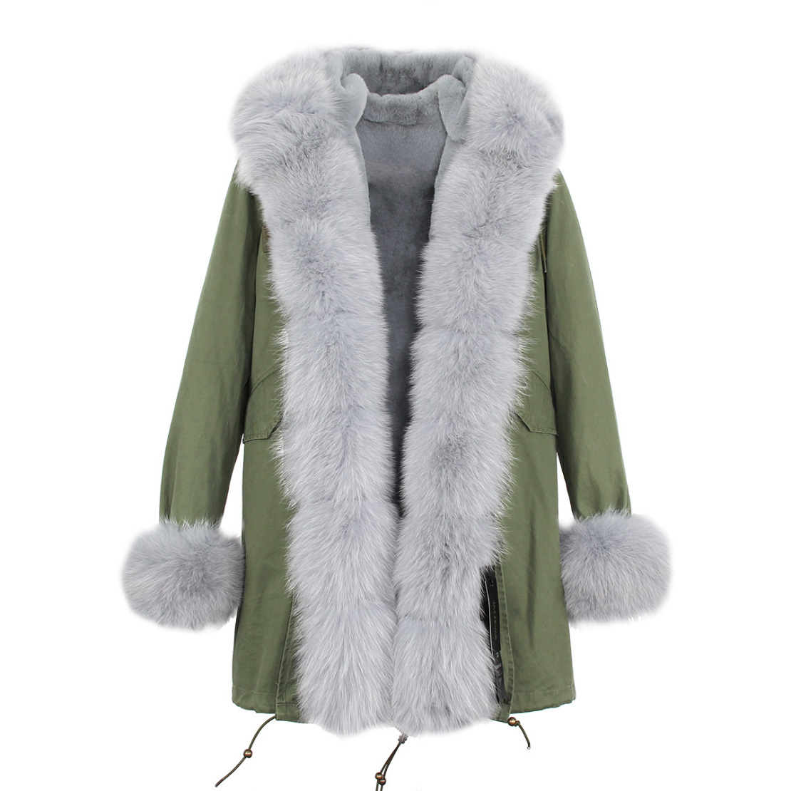Fox Fur Trimmed Hooded Parka with Detachable Liner 133-8