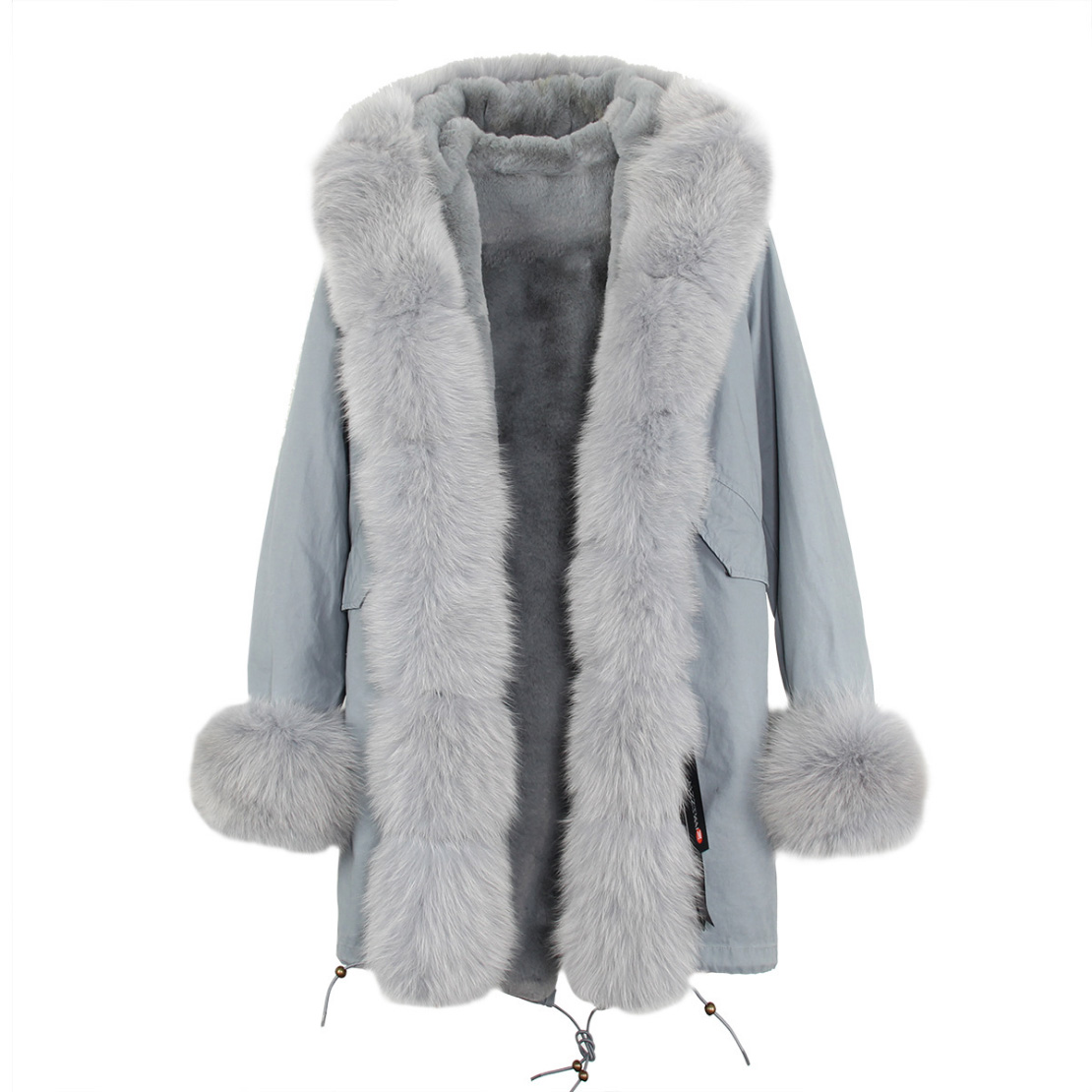 Fox Fur Trimmed Hooded Parka with Detachable Liner 133-9