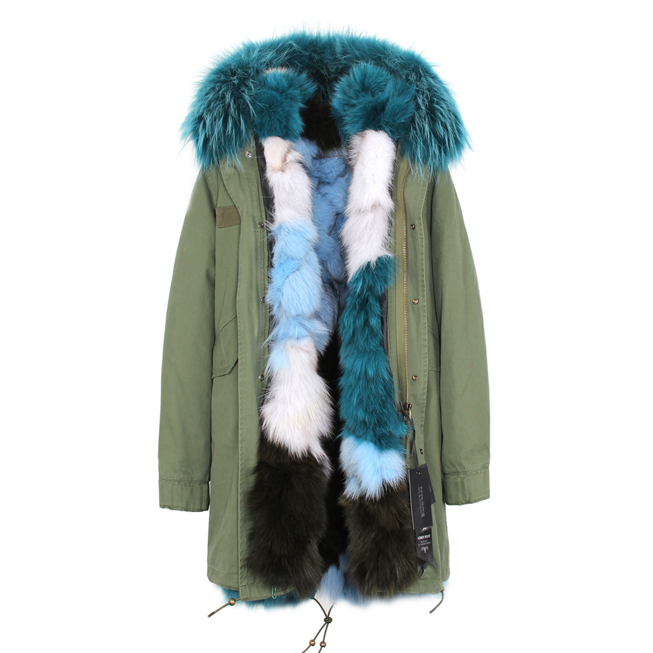 Raccoon Fur Trimmed Hooded Parka with Detachable Fox Fur Liner 134a Details 1