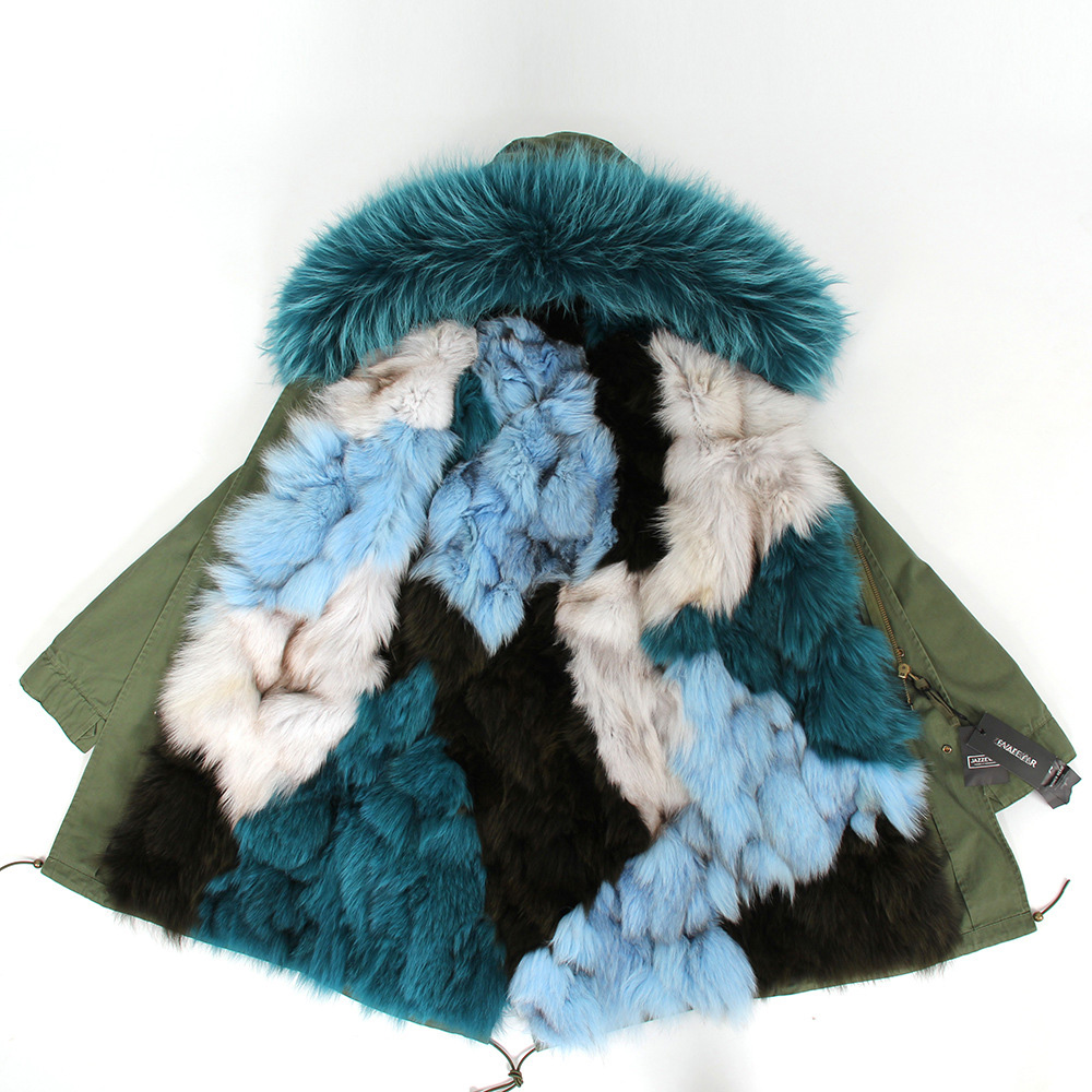 Raccoon Fur Trimmed Hooded Parka with Detachable Fox Fur Liner 134a Details 11