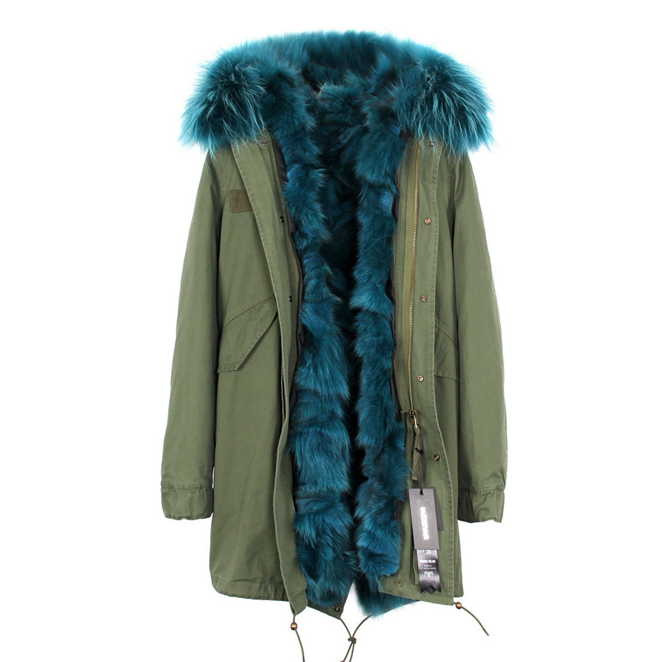 Raccoon Fur Trimmed Hooded Parka with Detachable Fox Fur Liner 134a Details 2
