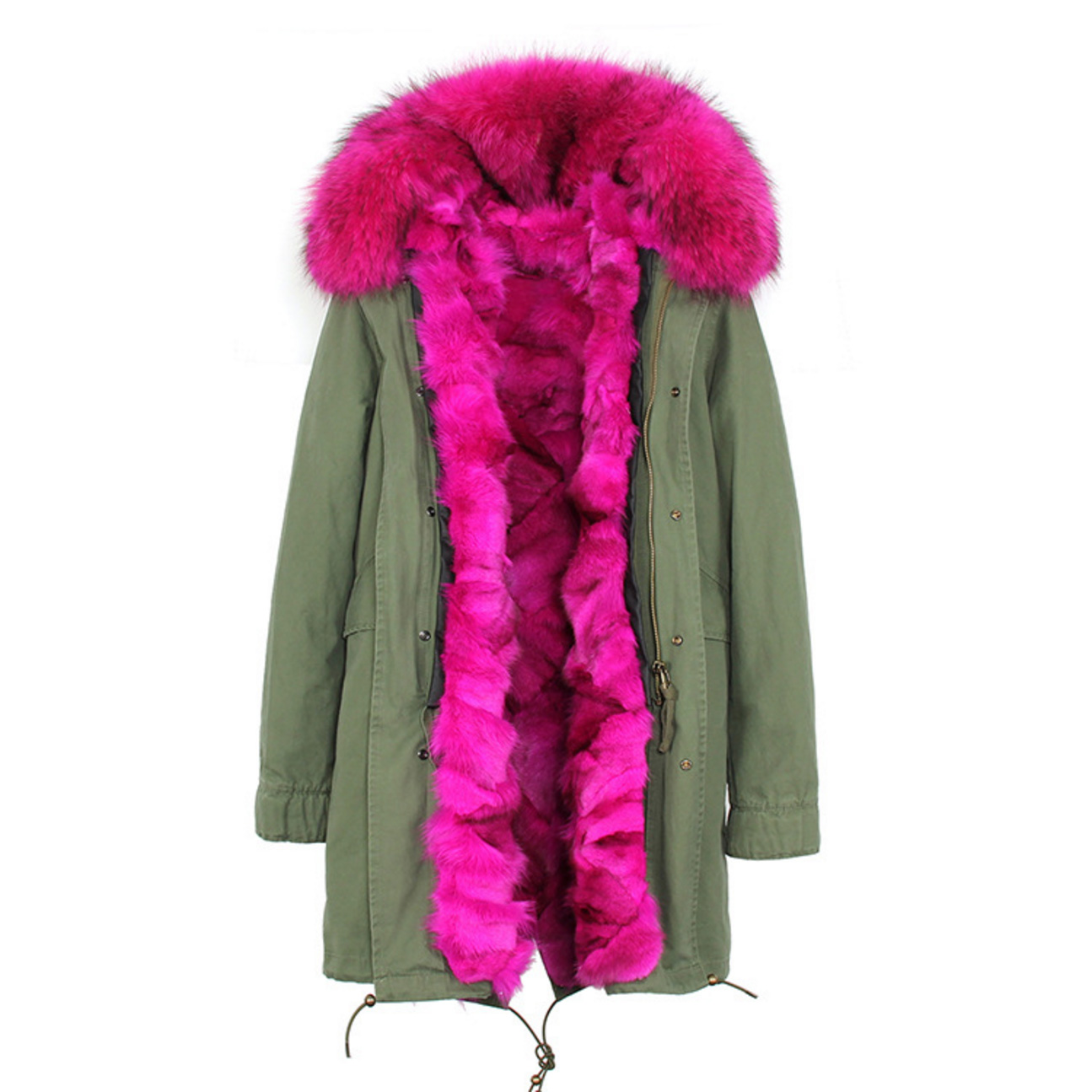 Raccoon Fur Trimmed Hooded Parka with Detachable Fox Fur Liner 134a Details 3