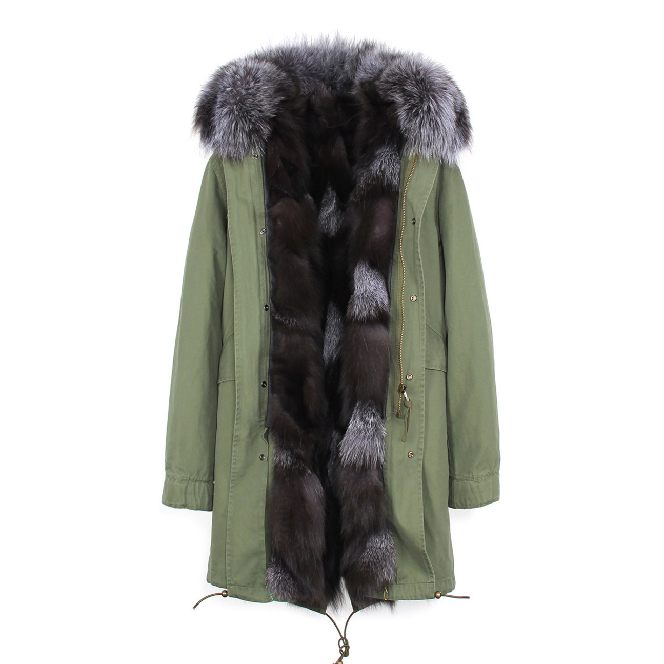 Raccoon Fur Trimmed Hooded Parka with Detachable Fox Fur Liner 134a Details 4