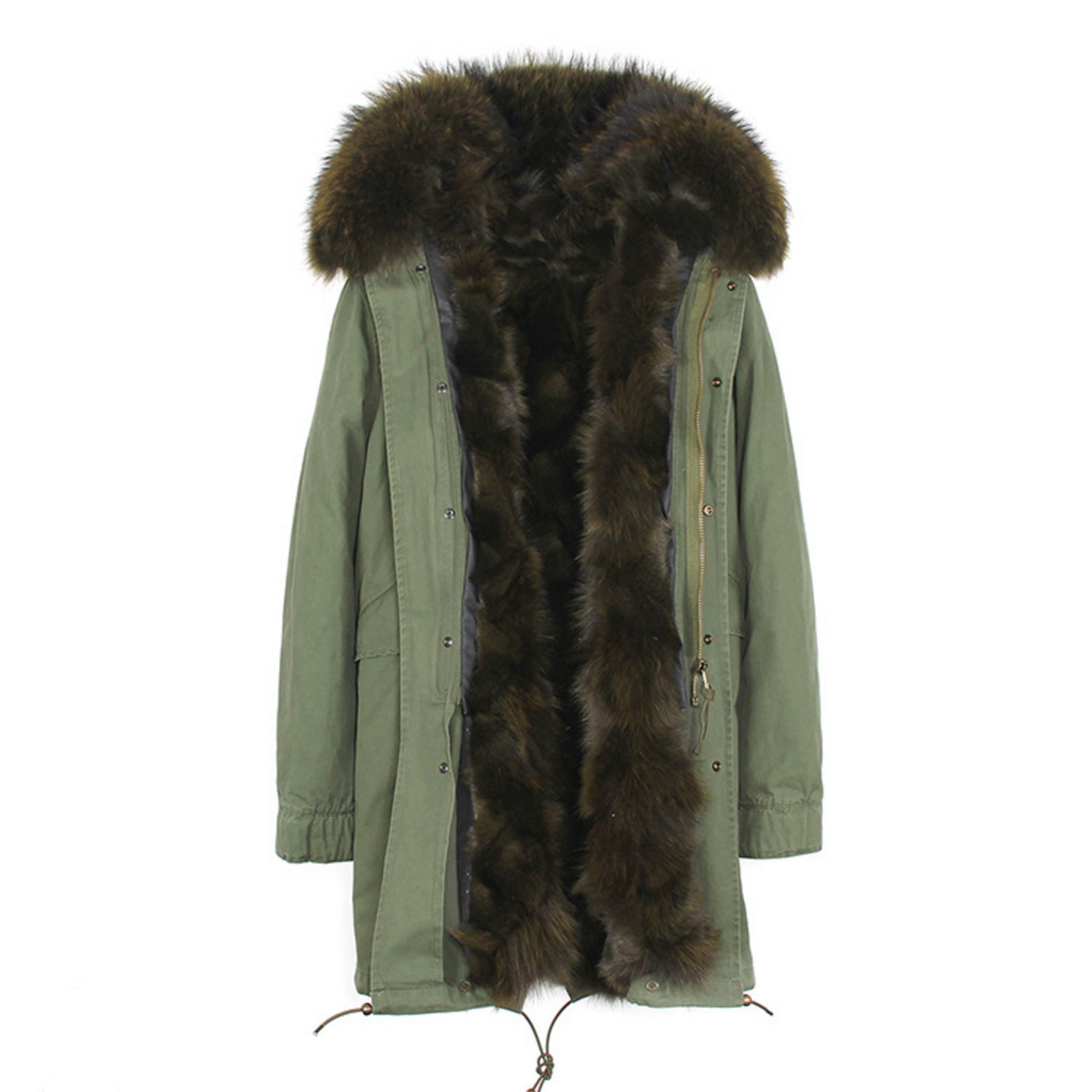 Raccoon Fur Trimmed Hooded Parka with Detachable Fox Fur Liner 134a Details 5