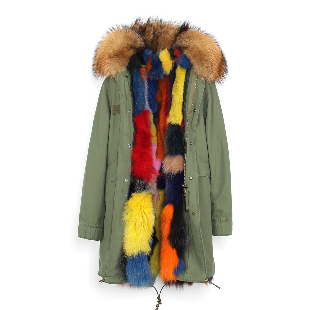 Raccoon Fur Trimmed Hooded Parka with Detachable Fox Fur Liner 134a Details 6