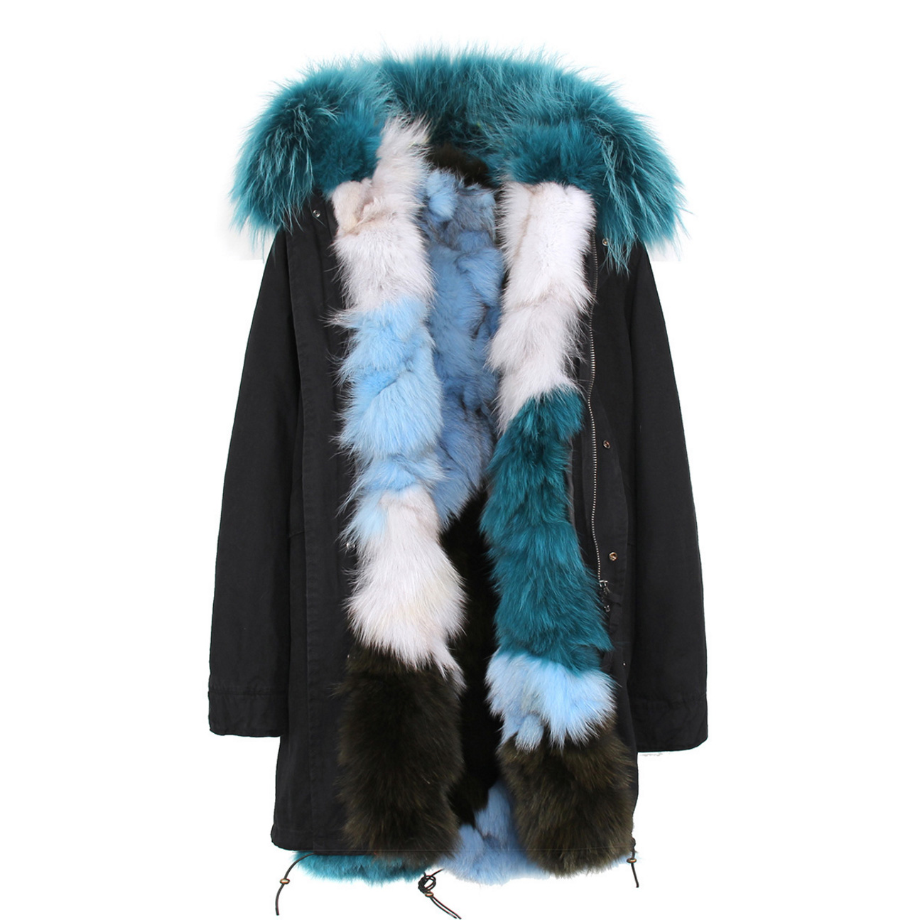 Raccoon Fur Trimmed Hooded Parka with Detachable Fox Fur Liner 134b Details 2