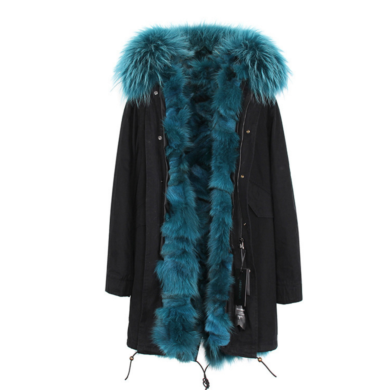 Raccoon Fur Trimmed Hooded Parka with Detachable Fox Fur Liner 134b Details 3