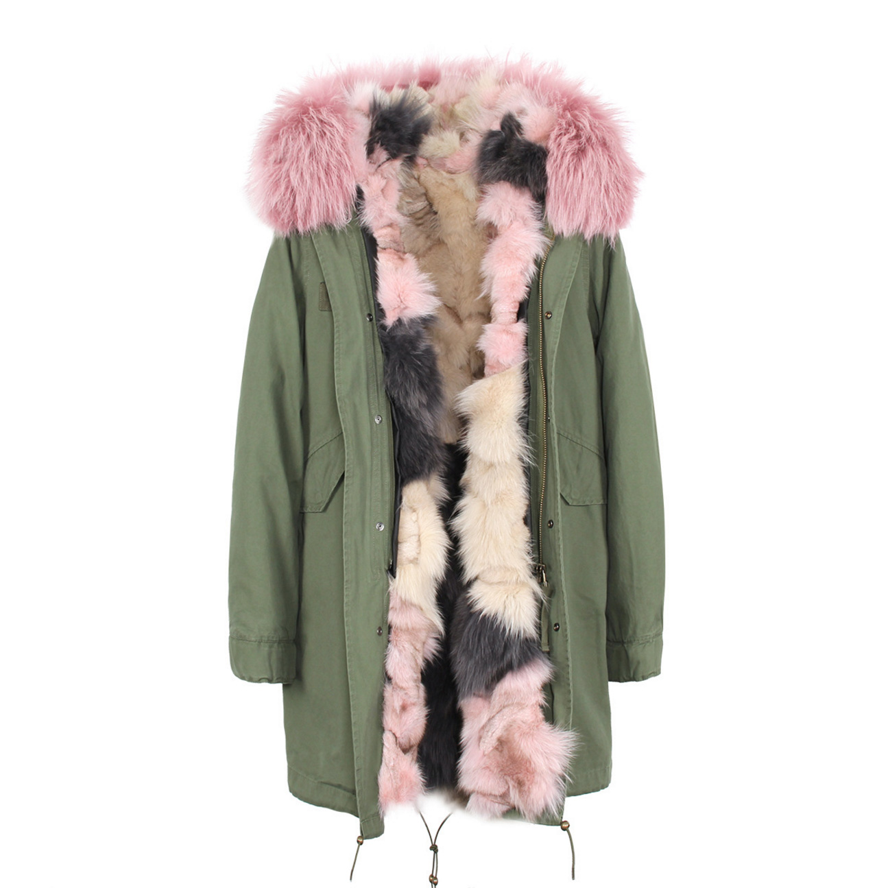 Raccoon Fur Trimmed Hooded Parka with Detachable Fox Fur Liner 134c Details 2