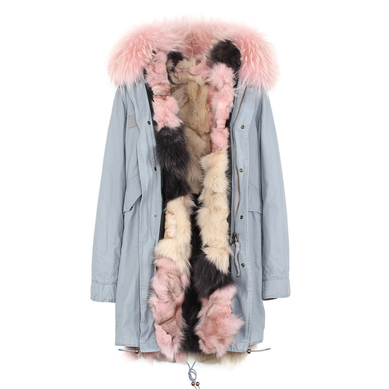 Raccoon Fur Trimmed Hooded Parka with Detachable Fox Fur Liner 134c Details 3