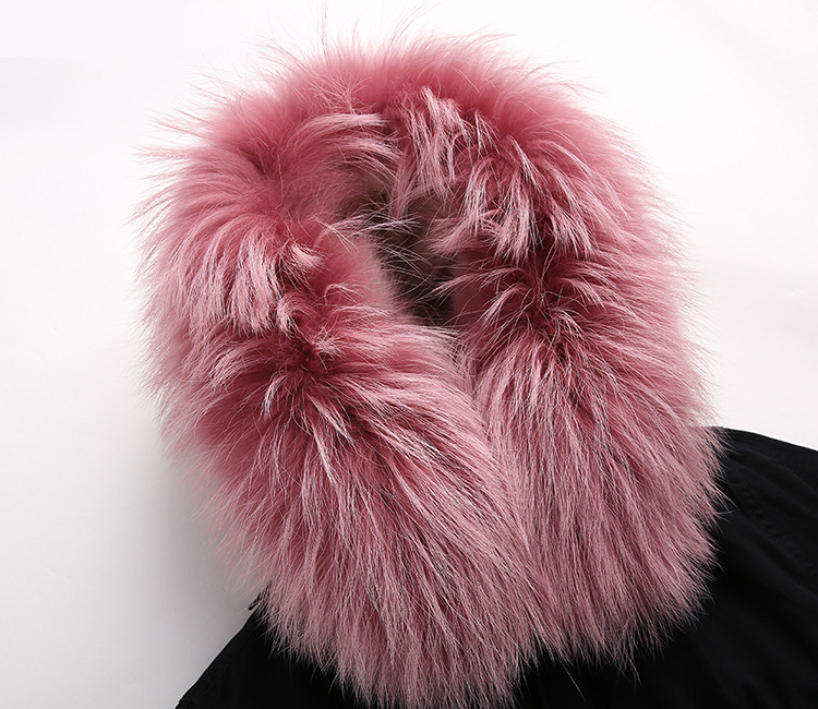 Raccoon Fur Trimmed Hooded Parka with Detachable Fox Fur Liner 134c Details 4