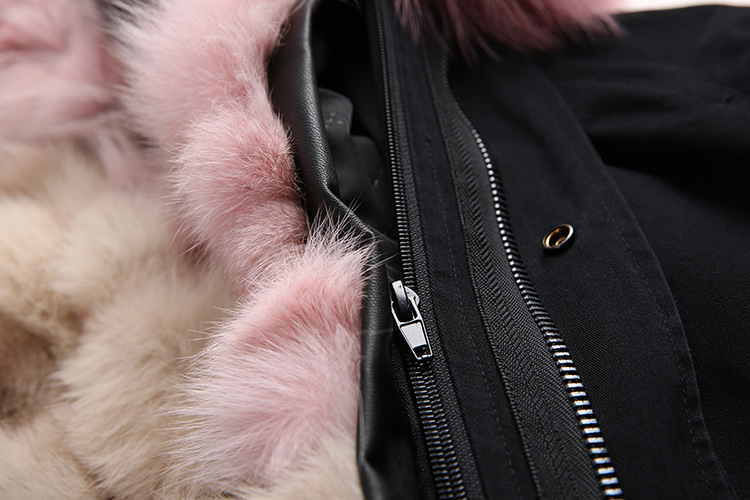 Raccoon Fur Trimmed Hooded Parka with Detachable Fox Fur Liner 134c Details 5