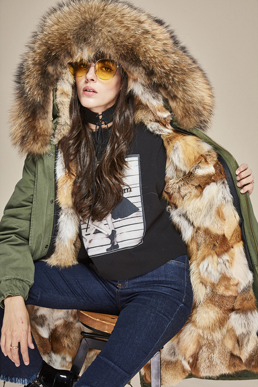 Raccoon Fur Trimmed Hooded Parka with Detachable Fox Fur Liner 134d Details 1
