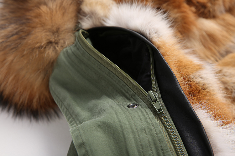 Raccoon Fur Trimmed Hooded Parka with Detachable Fox Fur Liner 134d Details 4