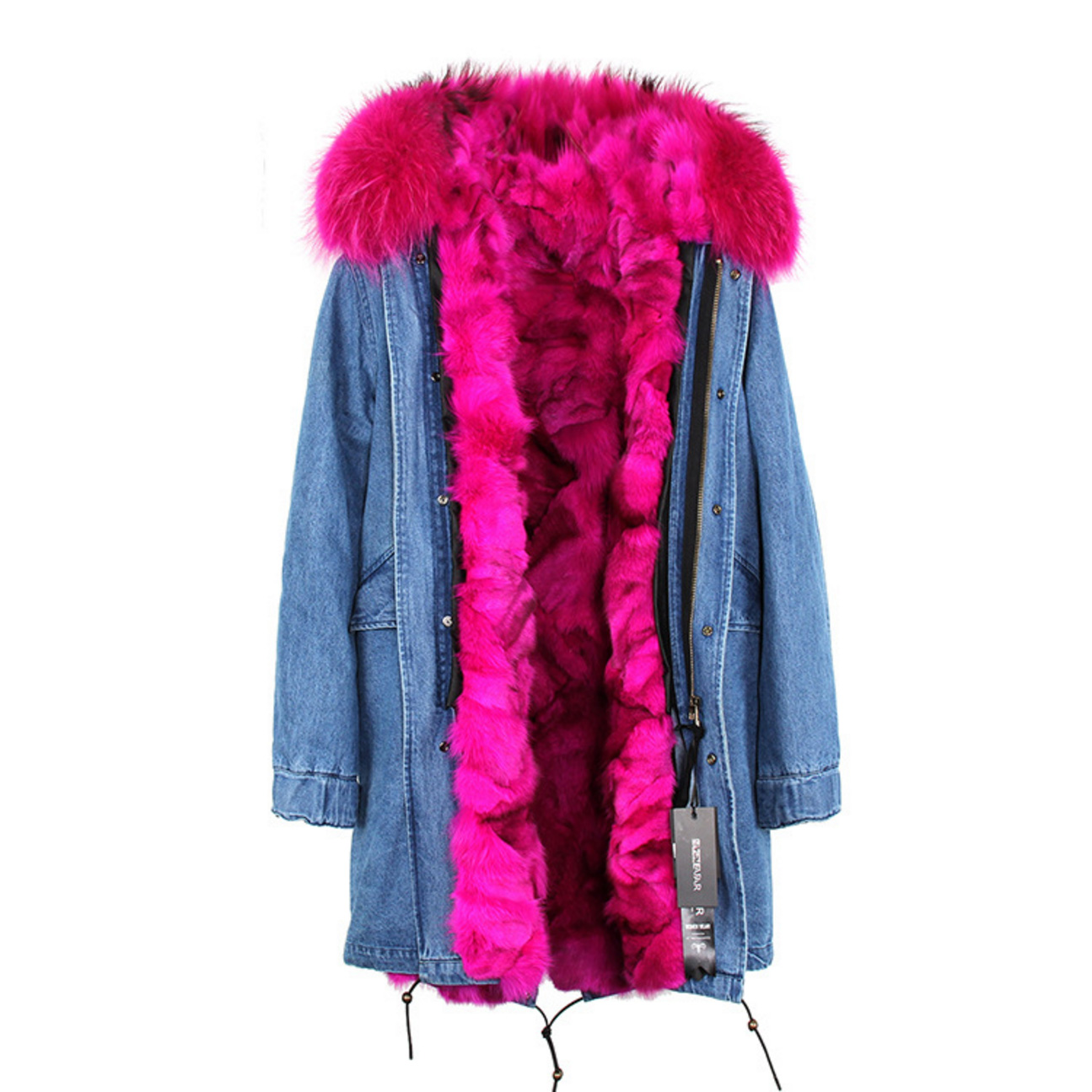 Raccoon Fur Trimmed Hooded Parka with Detachable Fox Fur Liner 134e-1