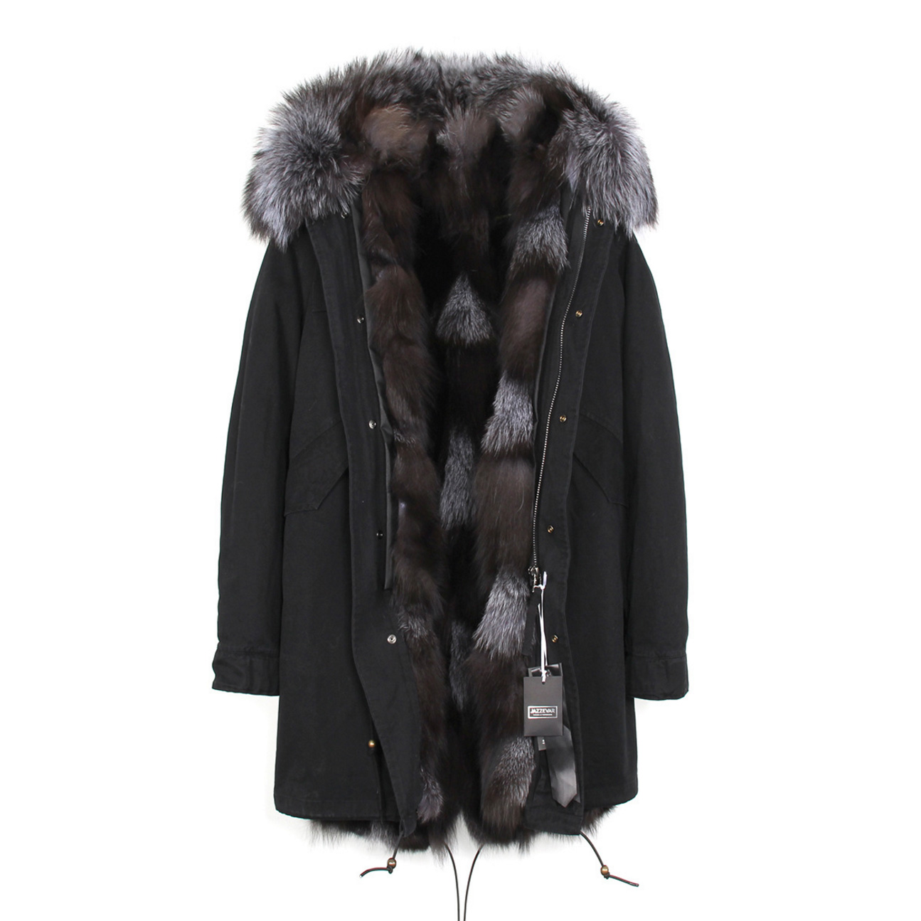 Raccoon Fur Trimmed Hooded Parka with Detachable Fox Fur Liner 134e-10