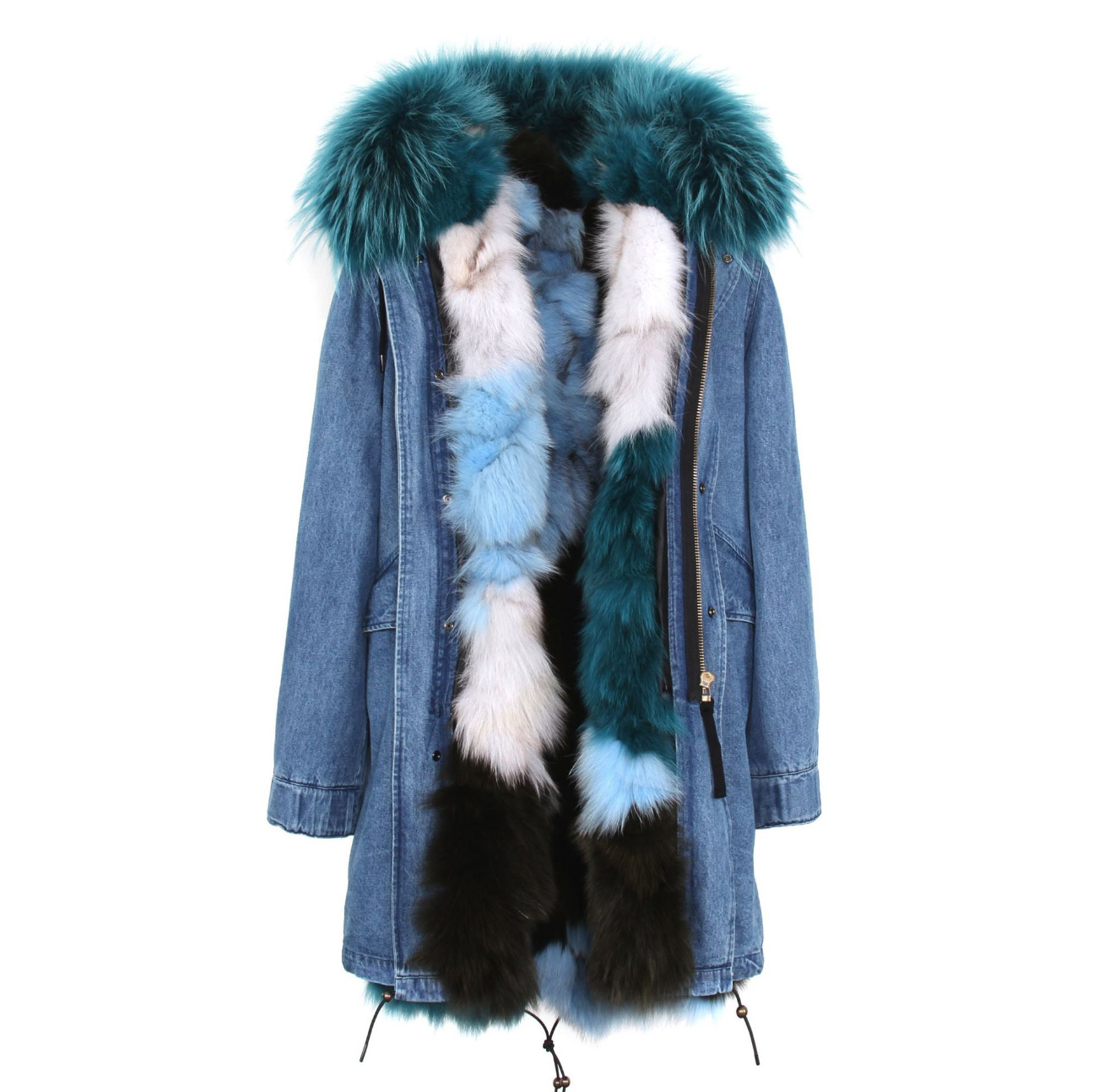 Raccoon Fur Trimmed Hooded Parka with Detachable Fox Fur Liner 134e-2