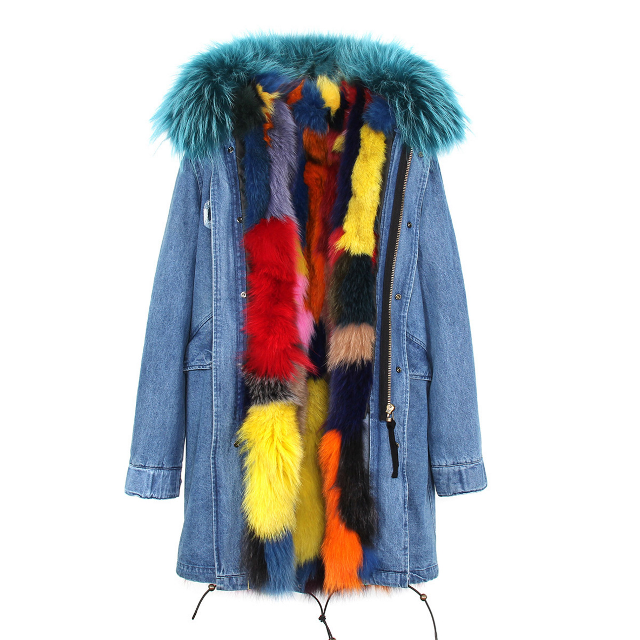 Raccoon Fur Trimmed Hooded Parka with Detachable Fox Fur Liner 134e-3