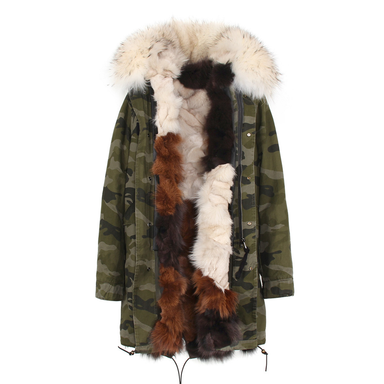 Raccoon Fur Trimmed Hooded Parka with Detachable Fox Fur Liner 134e-6