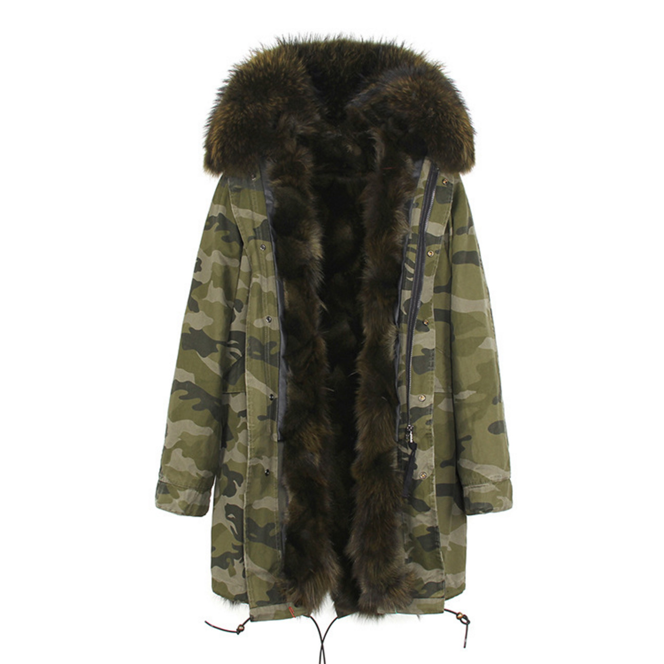 Raccoon Fur Trimmed Hooded Parka with Detachable Fox Fur Liner 134e-7