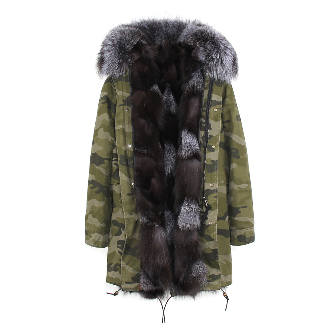 Raccoon Fur Trimmed Hooded Parka with Detachable Fox Fur Liner 134e-8