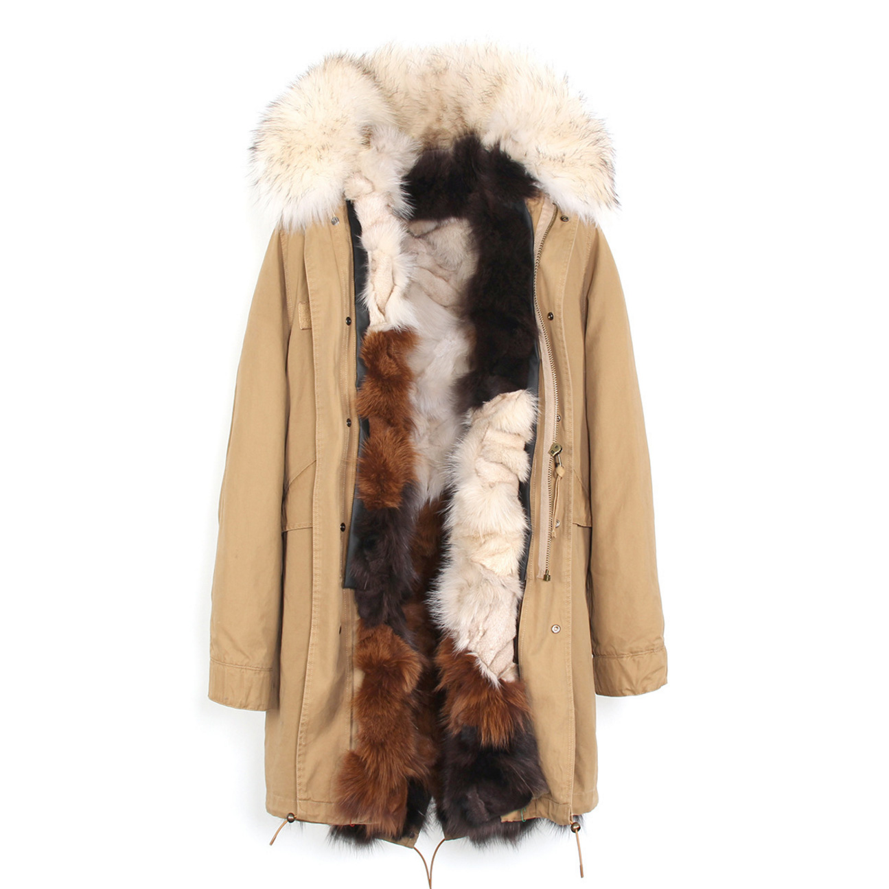 Raccoon Fur Trimmed Hooded Parka with Detachable Fox Fur Liner 134e-9