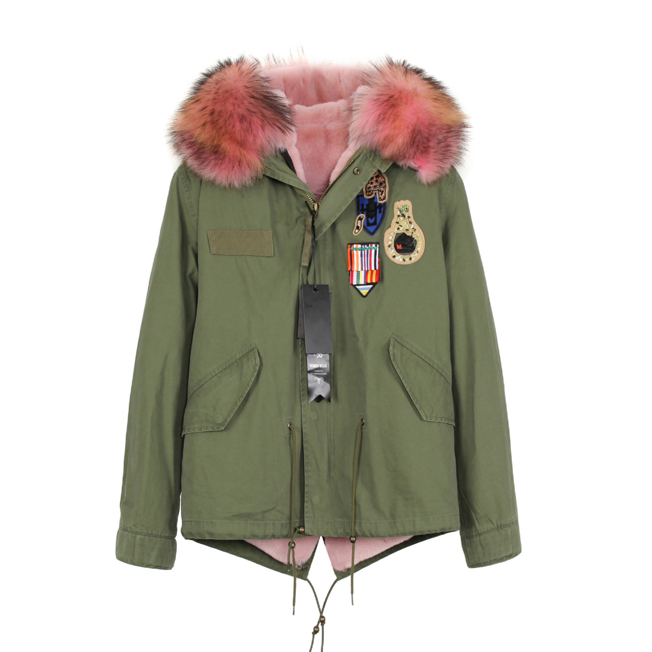 Raccoon Fur Trimmed Hooded Mini Parka with Detachable Liner 135 Details 4