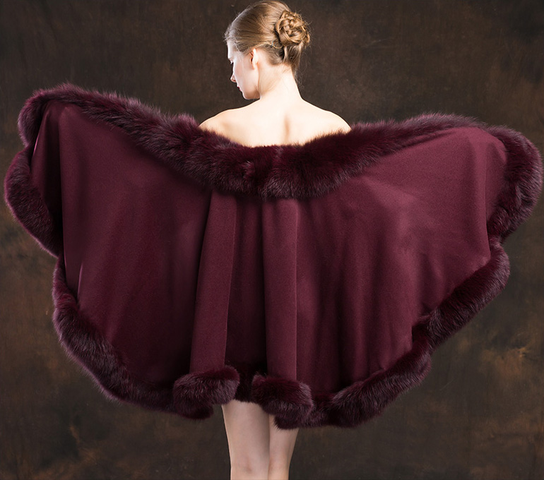 Fox Trimmed Cashmere Cape 138-Wine-details-1