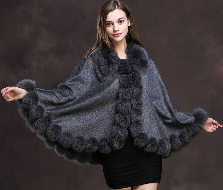 Fox Trimmed Cashmere Cape 139-Gray-Details-1