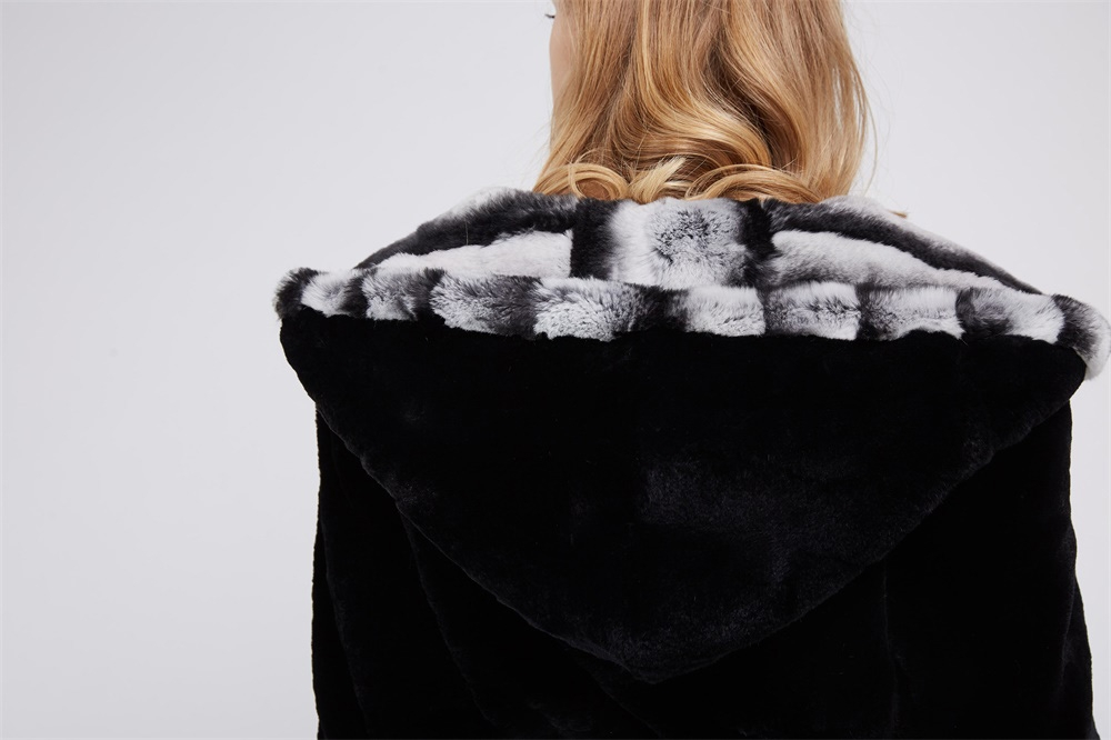 Hooded Rex Rabbit Fur Coat 214 Details 2