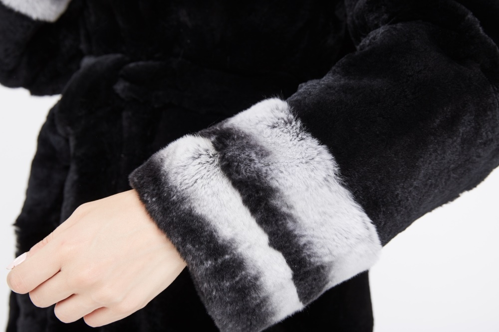 Hooded Rex Rabbit Fur Coat 214 Details 3