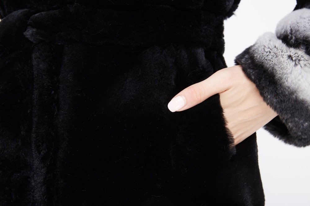 Hooded Rex Rabbit Fur Coat 214 Details 4