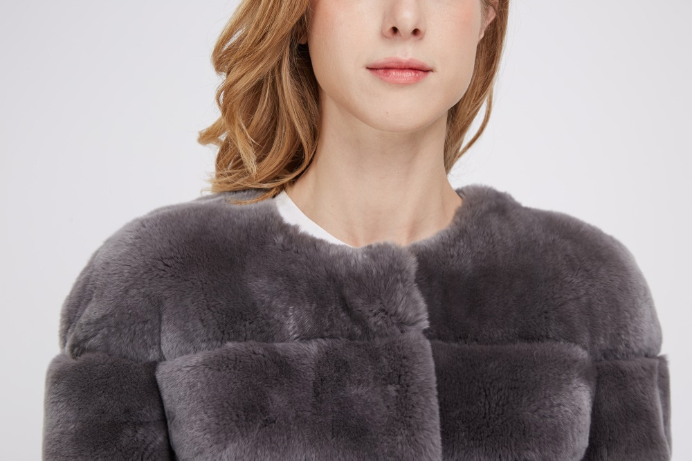 Rex Rabbit Fur Jacket with Tibet Sheep Fur Trim 222 Details 1