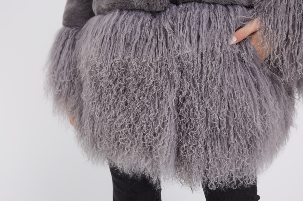 Rex Rabbit Fur Jacket with Tibet Sheep Fur Trim 222 Details 5