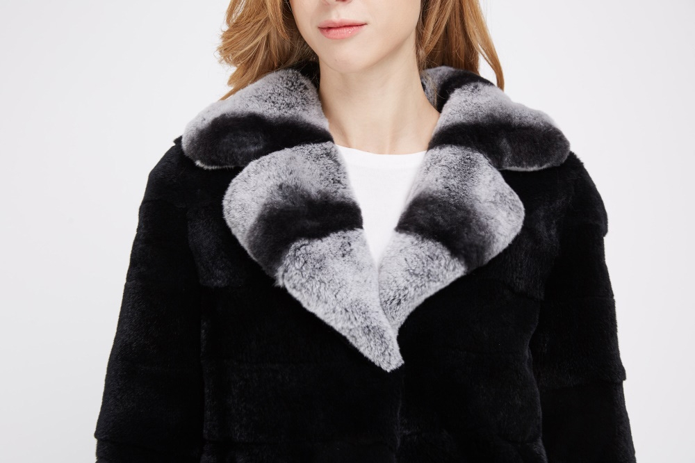 Black Rex Rabbit Fur Coat 225 Details 1