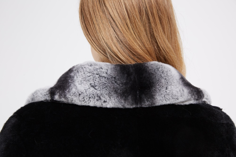 Black Rex Rabbit Fur Coat 225 Details 2
