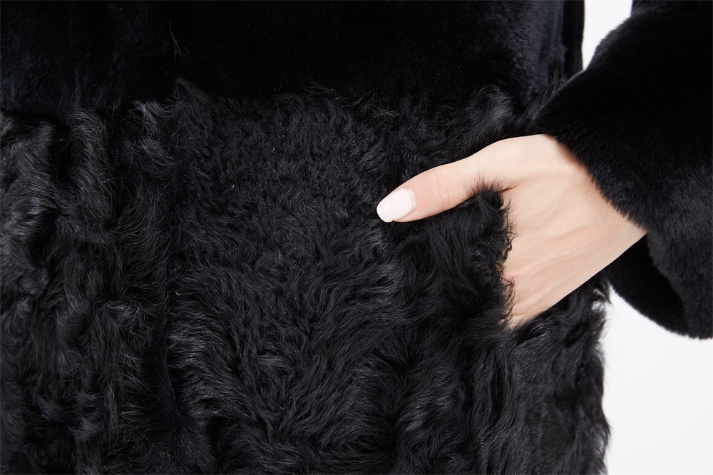 Rex Rabbit Fur Coat with Lamb Fur Half Bottom 226 Details 3