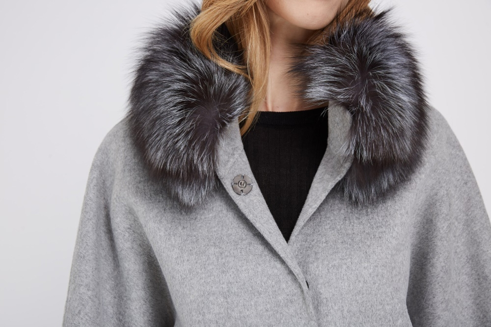 Cashmere Cape Jacket with Silver Fox Fur Trimming 232 Details 1