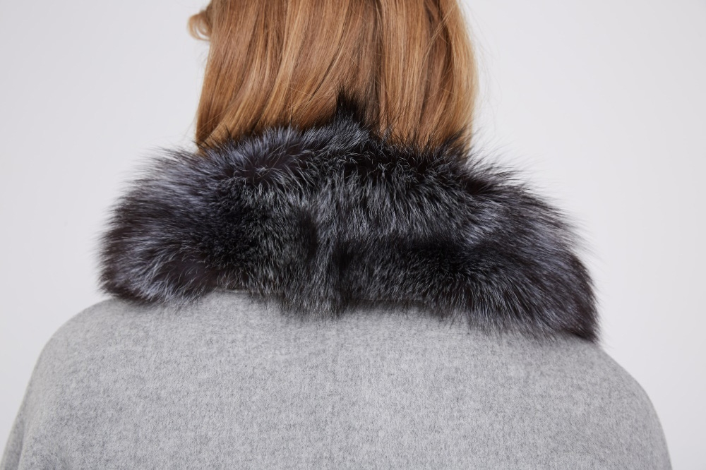 Cashmere Cape Jacket with Silver Fox Fur Trimming 232 Details 2