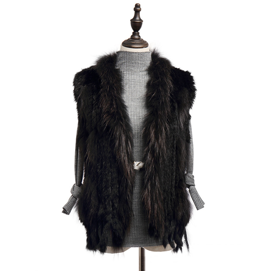 Knitted Rabbit Fur Vest with Raccoon Fur Trim 234 Black