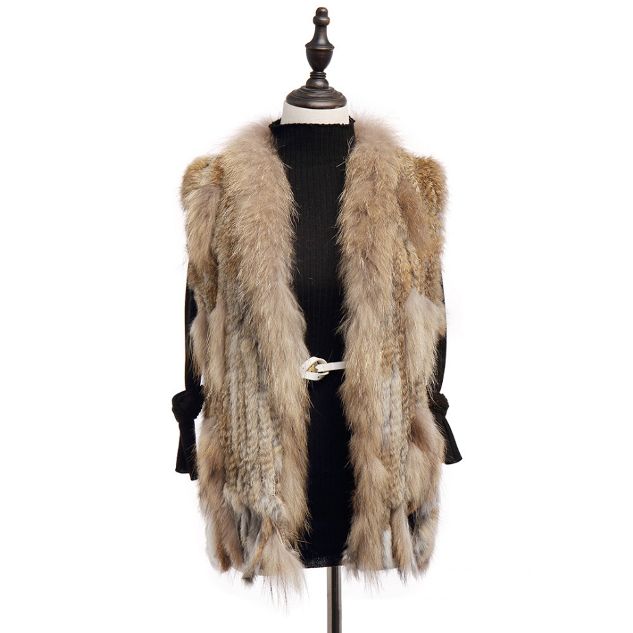 Knitted Rabbit Fur Vest with Raccoon Fur Trim 234 Camel