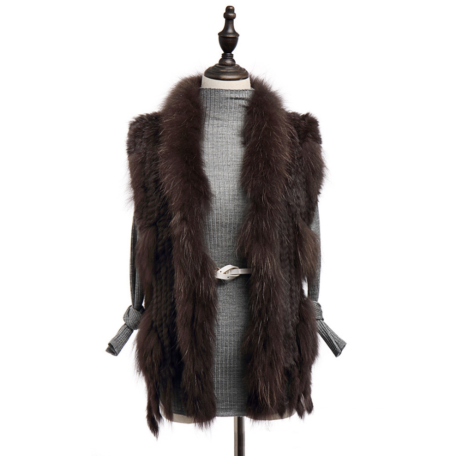 Knitted Rabbit Fur Vest with Raccoon Fur Trim 234 Coffee