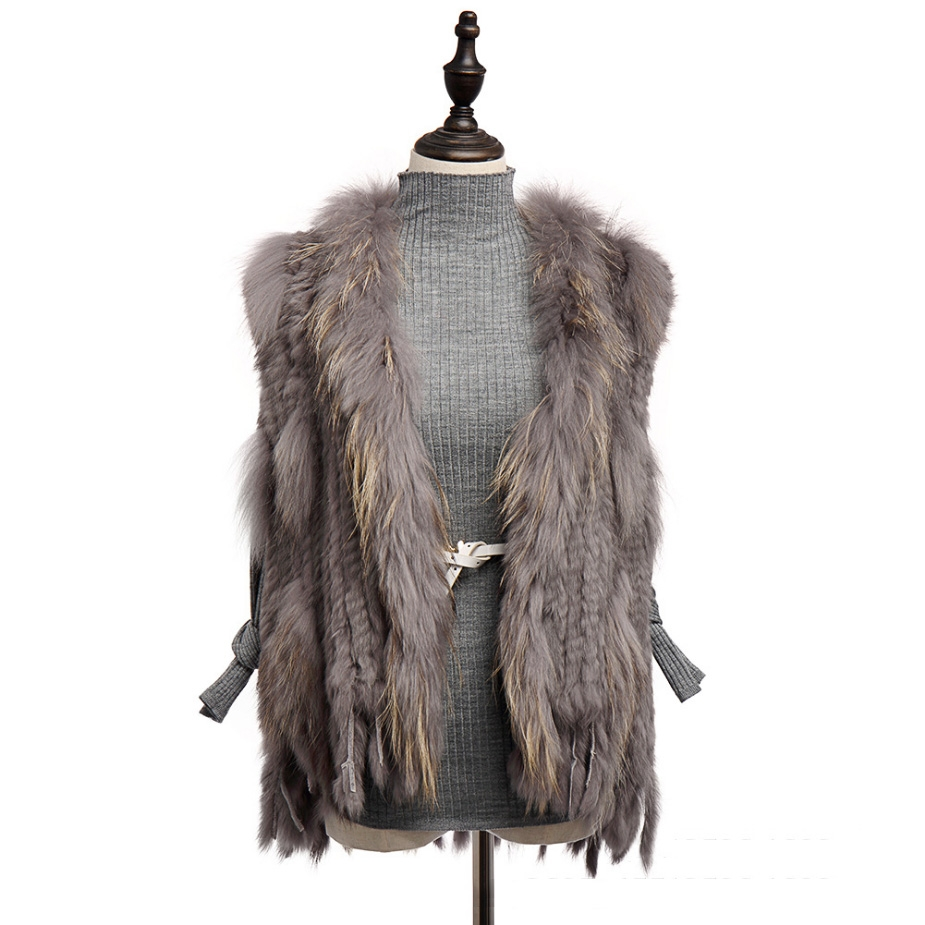 Knitted Rabbit Fur Vest with Raccoon Fur Trim 234 Gray