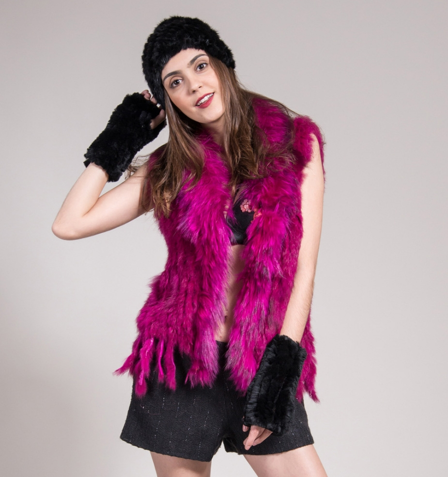 Knitted Rabbit Fur Vest with Raccoon Fur Trim 234 Red