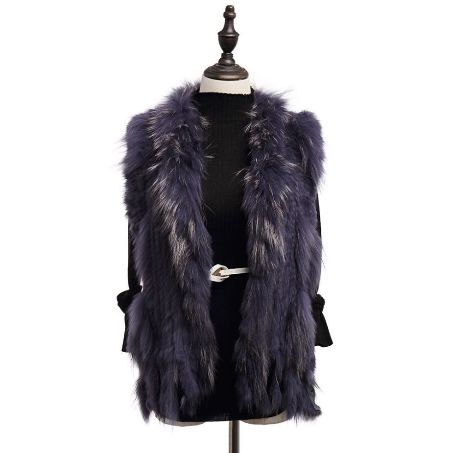 Knitted Rabbit Fur Vest with Raccoon Fur Trim 234 Slate-gray