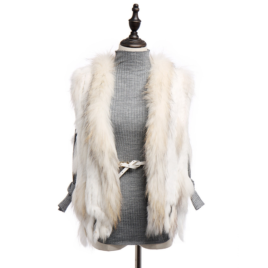 Knitted Rabbit Fur Vest with Raccoon Fur Trim 234 White