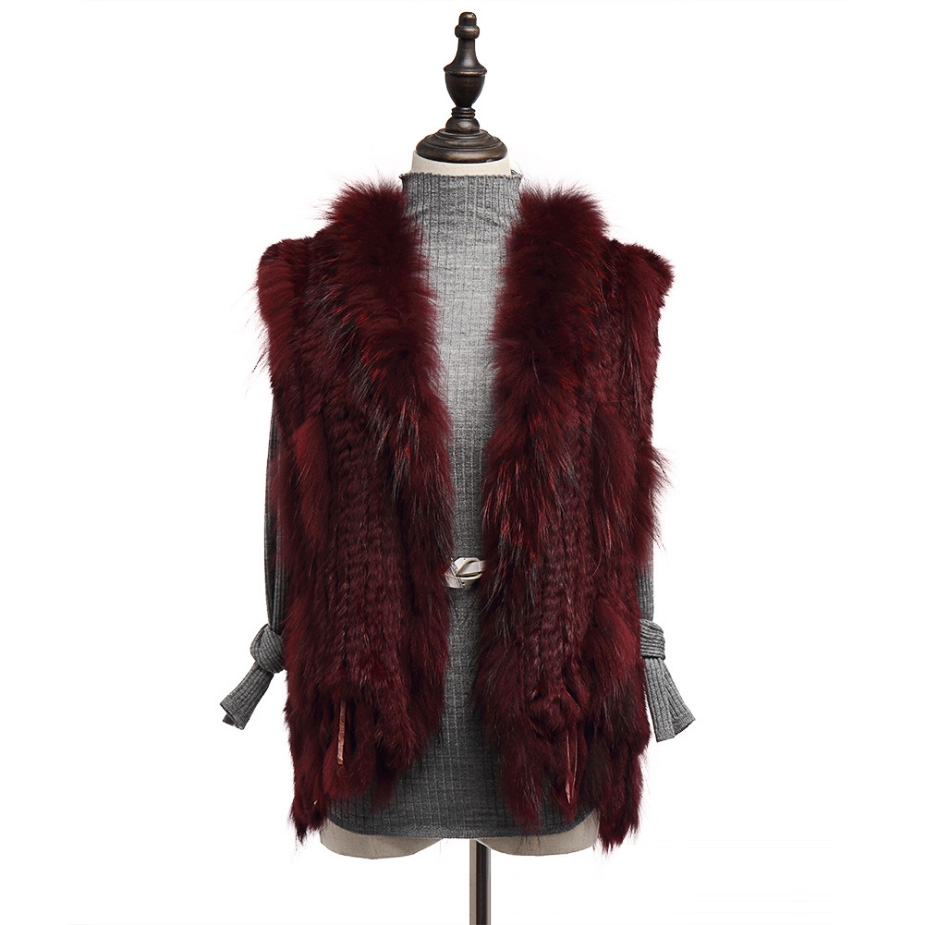 Knitted Rabbit Fur Vest with Raccoon Fur Trim 234 Wine